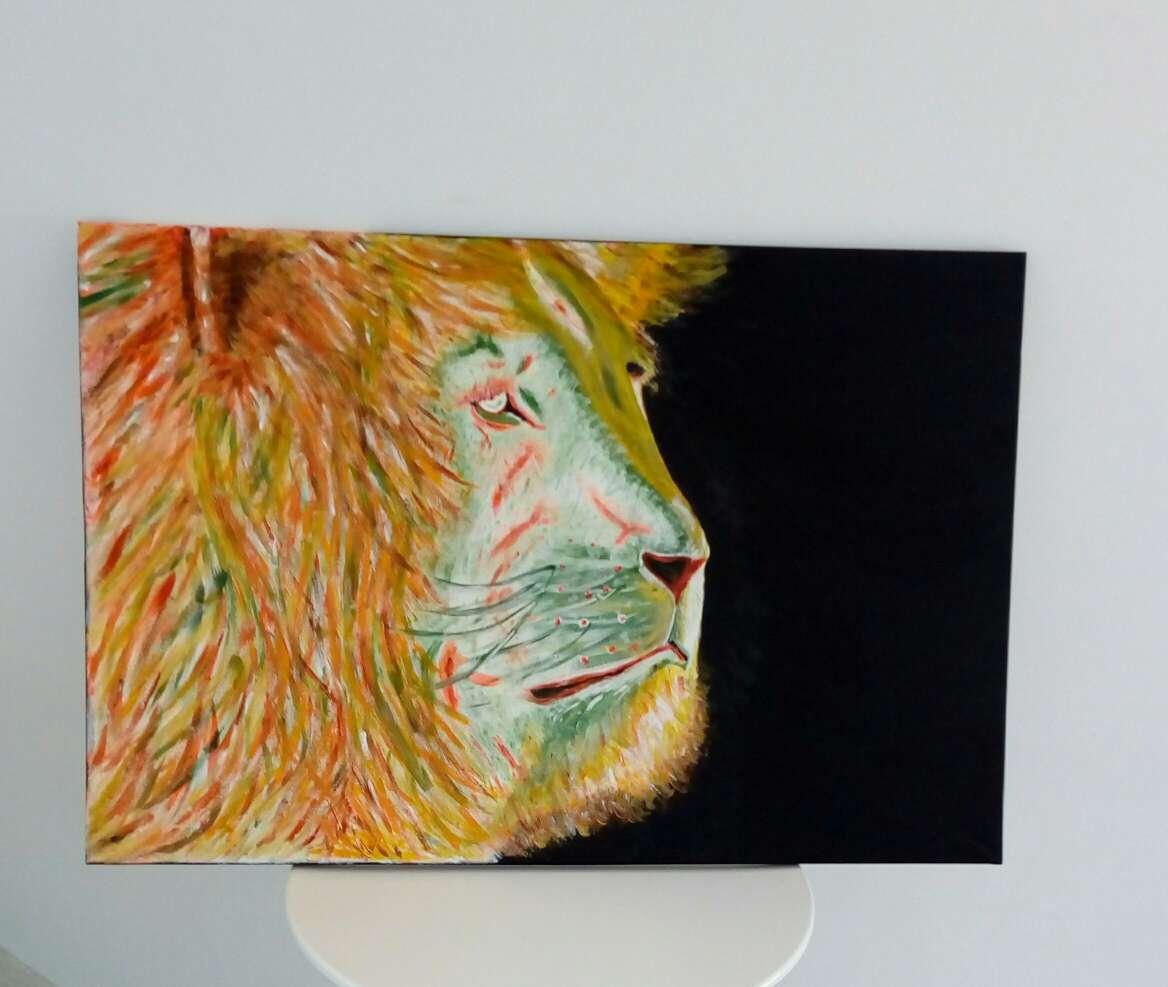 Imagen cuadro acrilico leon