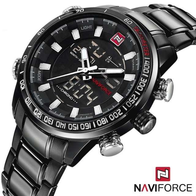 Imagen Reloj Cuarzo Digital Naviforce Acero Negro Blanco NF9093