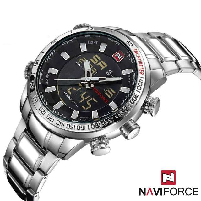 Imagen Reloj Cuarzo Digital NaviForce Acero Plateado Blanco NF9093