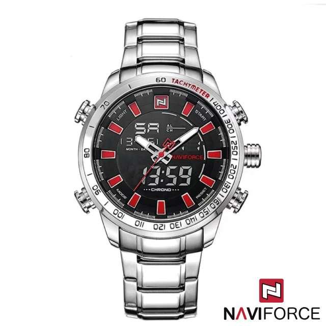 Imagen Reloj Cuarzo Digital Naviforce Acero Plateado Rojo NF9093