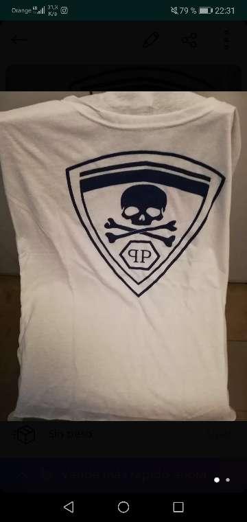 Imagen Camiseta philipp plein blanca talla S