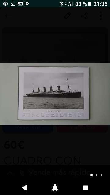 Imagen Cuadro con lámina del Titanic.