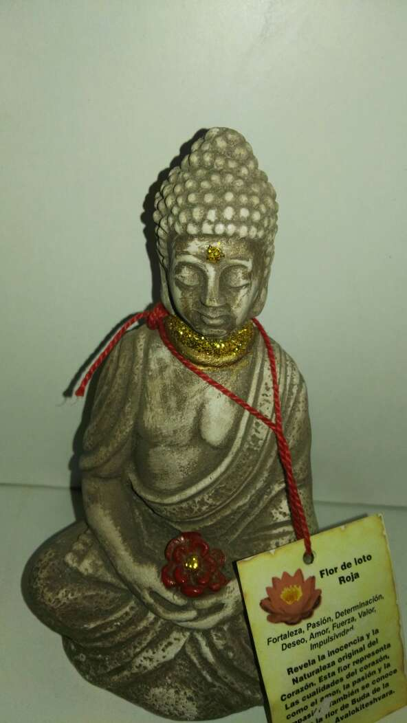 Imagen Buda flor de loto roja