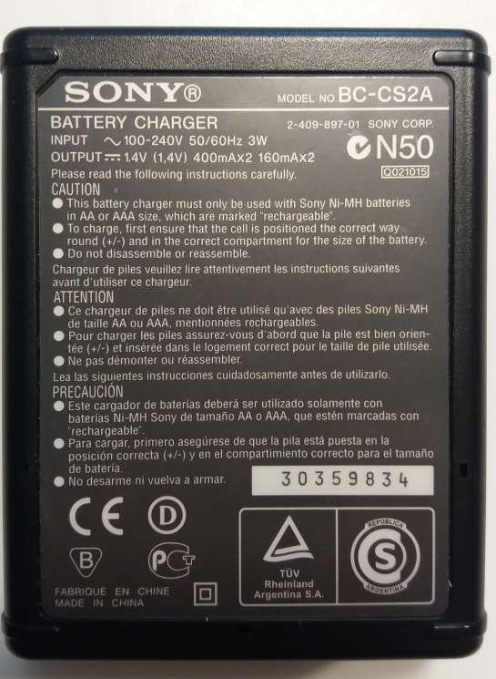 Imagen producto Cargador de pilas AA y AAA Sony BC-CS2A 3