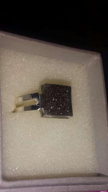 Imagen producto Anillo polvo de meteorito cuadrado  3