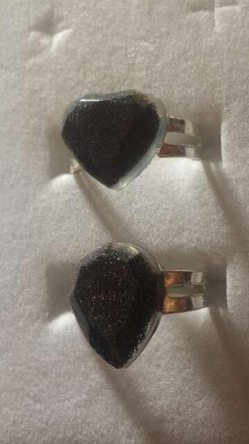 Imagen producto Pareja de anillos de polvo de meteorito  2