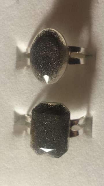 Imagen producto Pareja de anillos de polvo de meteorito  9