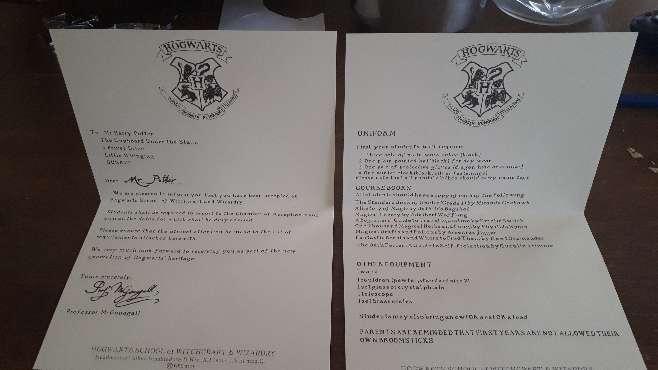 Imagen producto Carta Harry Potter Hogwarts y Personalizada  9