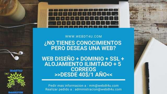 Imagen web hosting + dominio + ssl + 5 email