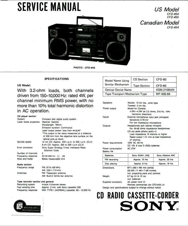 Imagen producto Sony CD Radio Cassete-Corder (1990) 3