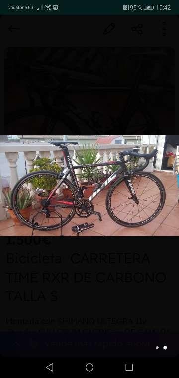 Imagen Bicicleta carretera time rxr de carbono. Talla (s) 51/52