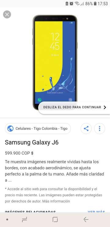 Imagen samsung galaxy j6 2018