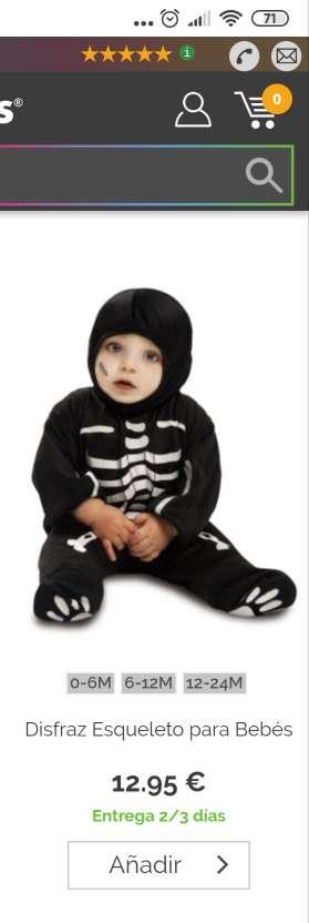 Imagen producto Disfraz de esqueleto bebé. 7-12 meses. 2
