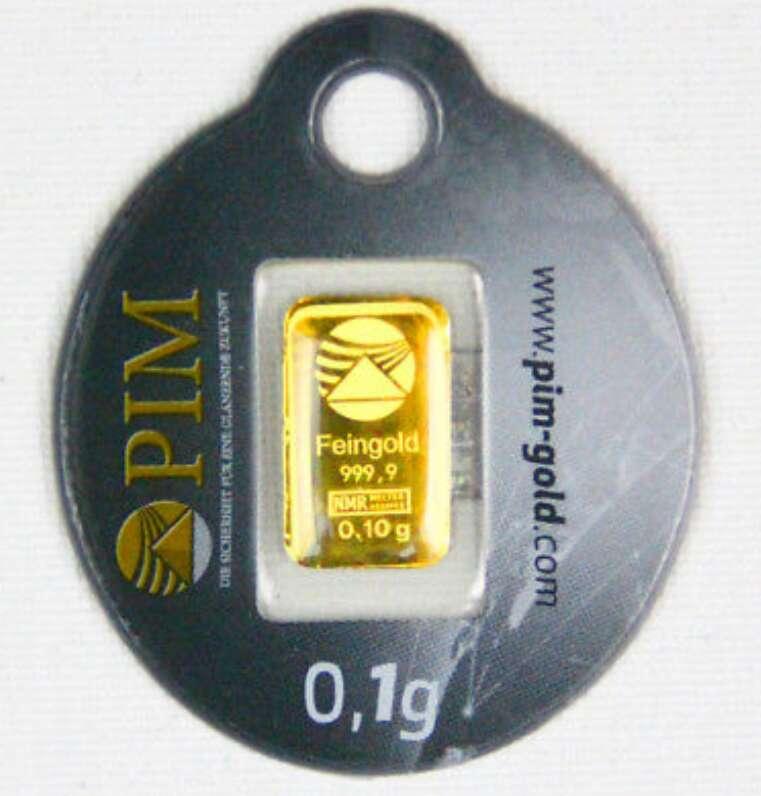 Imagen lingote de oro puro 999 de 0.10 nuevo