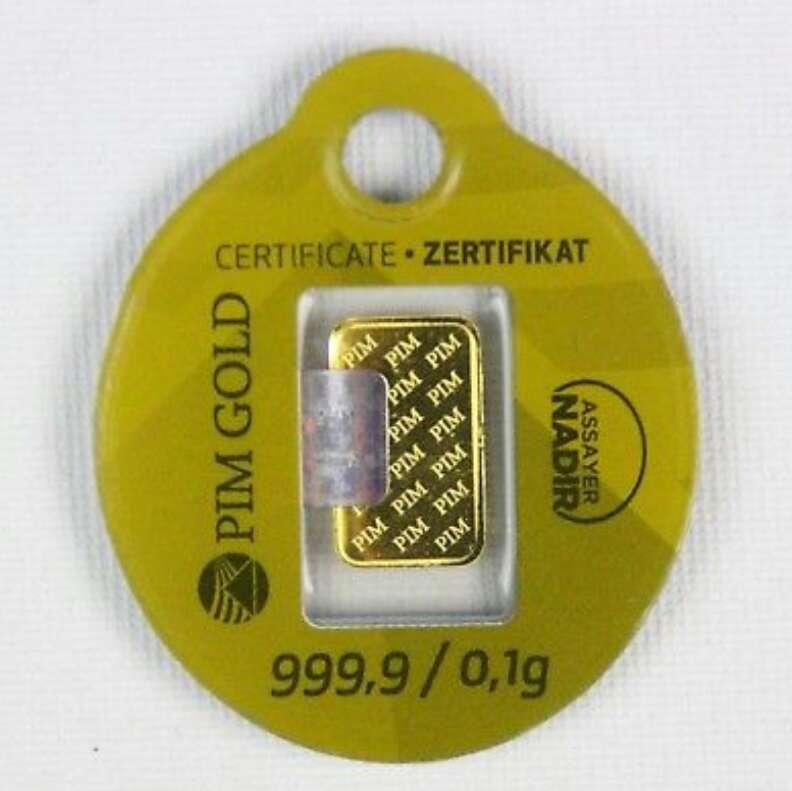 Imagen producto Lingote de oro puro 999 de 0.10 nuevo  2