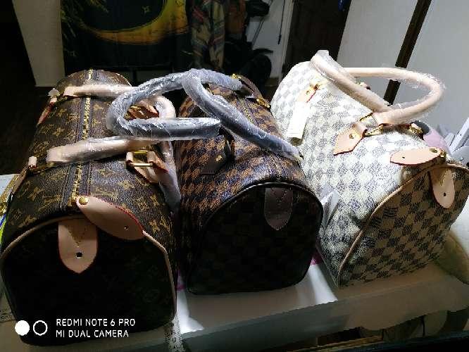 Imagen producto Oferta! Bolso de mano BLANCO estilo speedy 35cm y marrón cuadritos 30cm 2