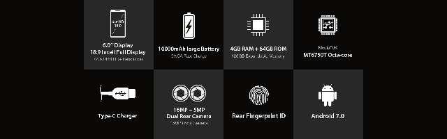 Imagen producto Móvil 64/4gb 10.000mAh batería grande 5