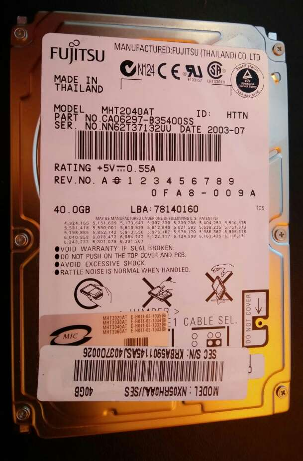 Imagen producto Disco Duro 2.5 Ide Fujitsu 1