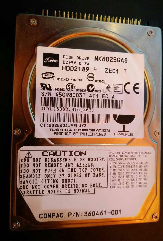 Imagen Disco Duro 2.5 Ide Toshiba