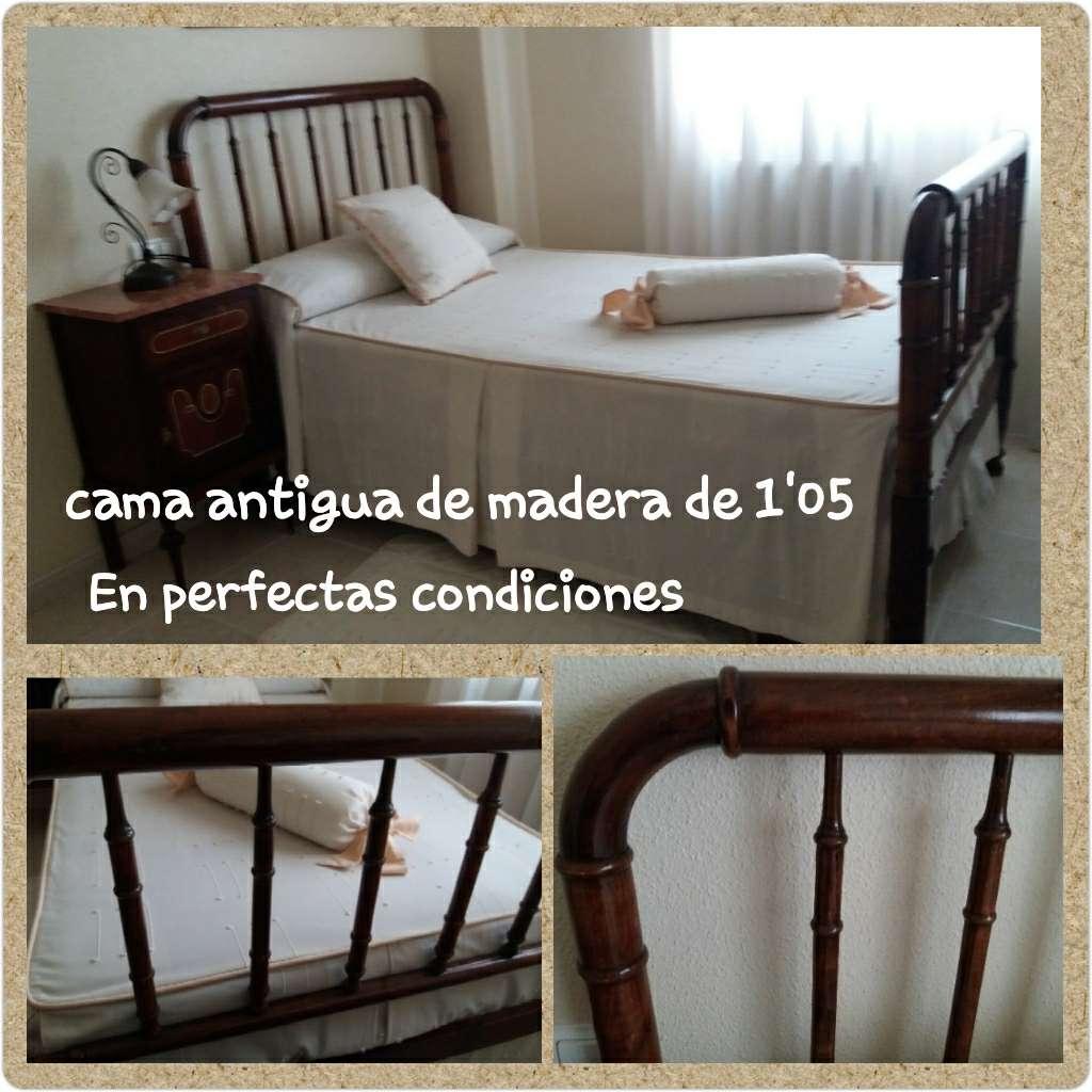 Imagen Cama antigua de madera de 1'05cm muy cuidada.