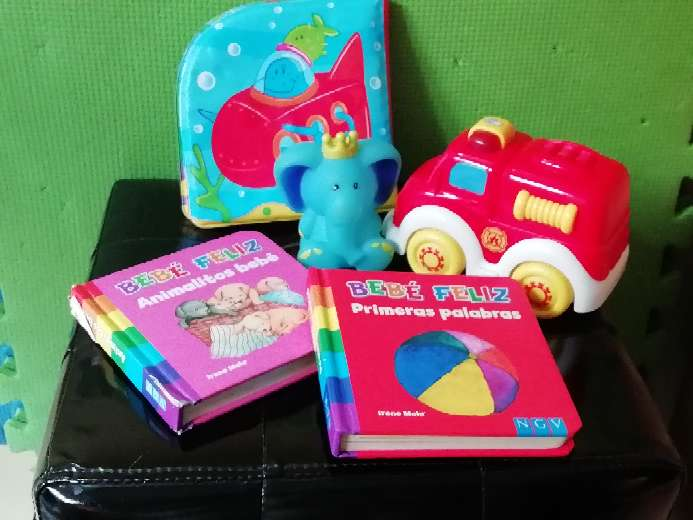 Imagen producto Lote de libros, camión, libro impermeable y muñeco 2