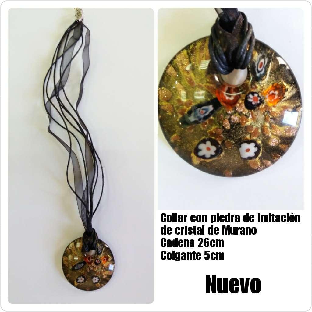 Imagen Colgante negro imitación de cristal de Murano 26cm