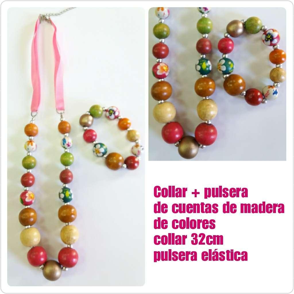 Imagen Collar + pulsera de cuentas de madera colores 32cm