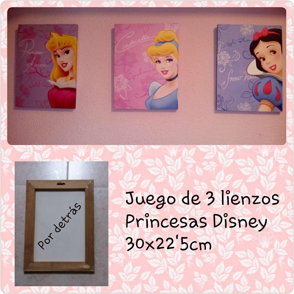 Imagen 3 cuadros lienzos PRINCESAS Disney 30x22'5cm.