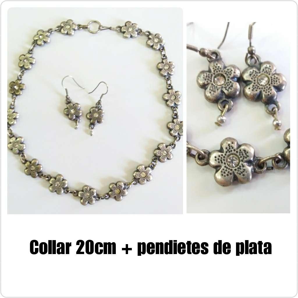 Imagen Collar + pendientes de flores   de plata.