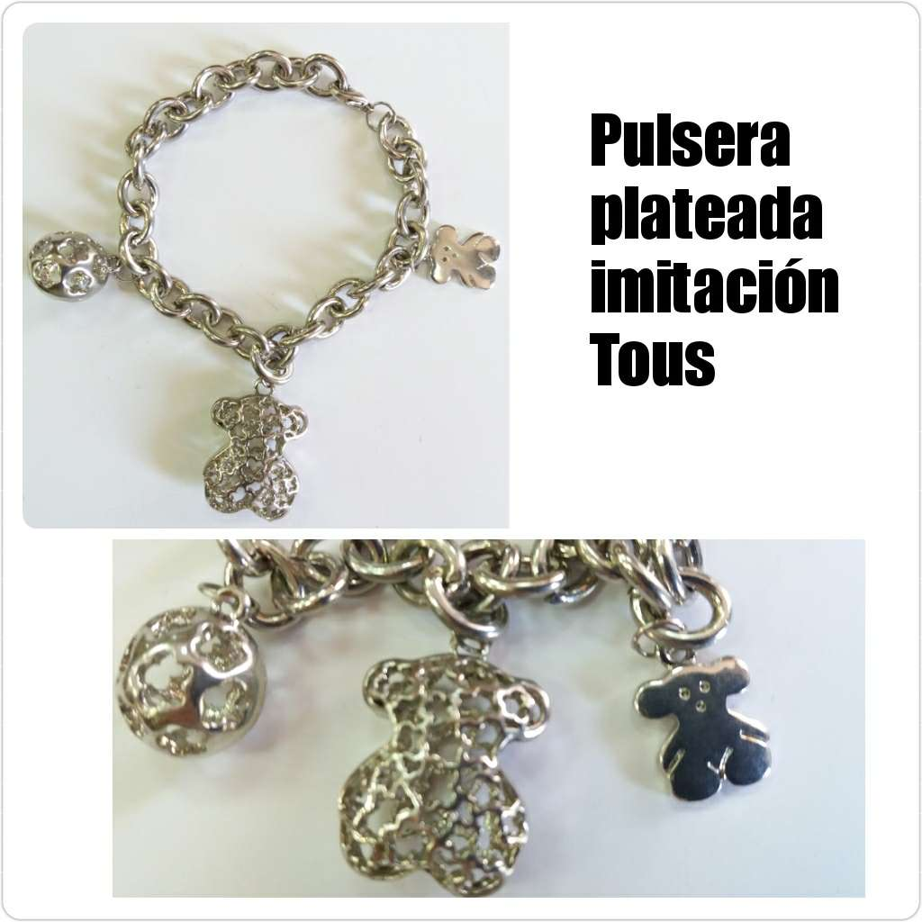 Imagen Pulsera plateada con abalorios de ositos