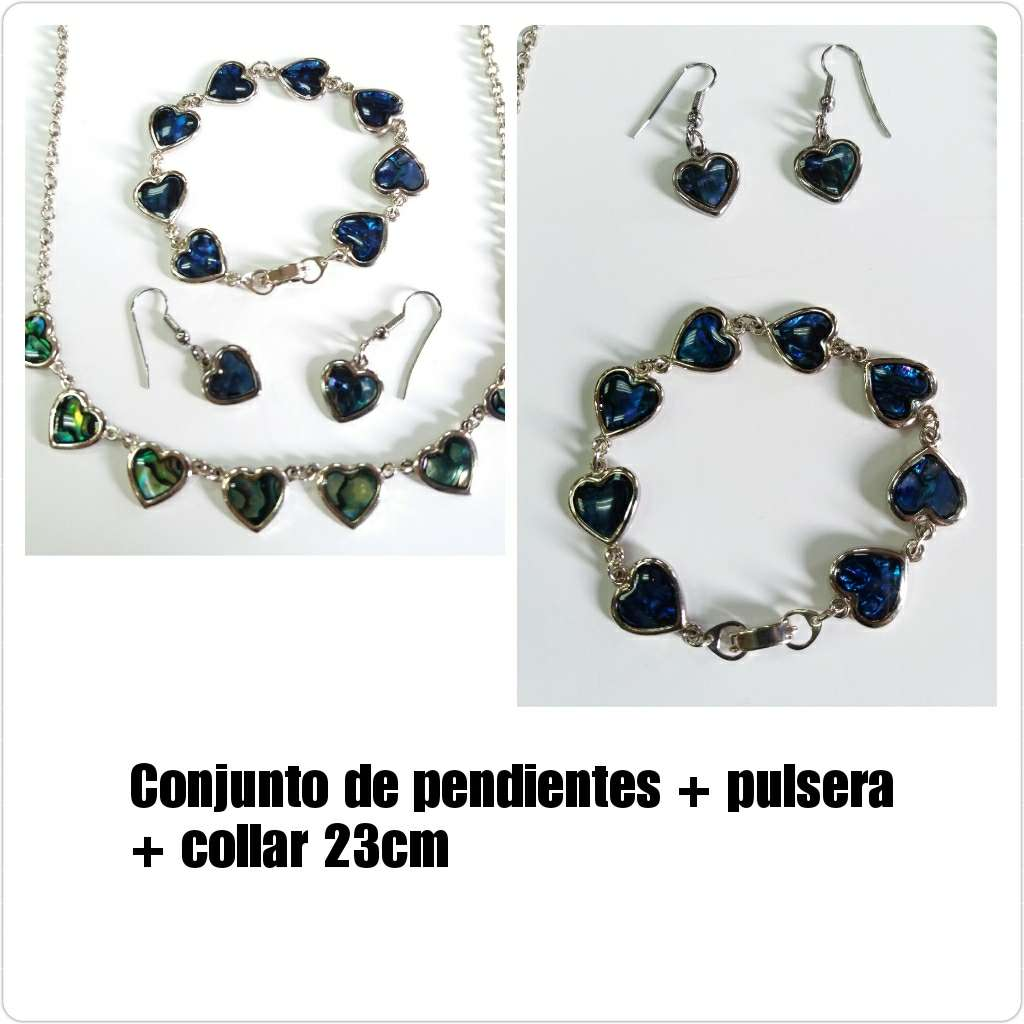 Imagen Collar + pendientes + pulsera con corazones azules
