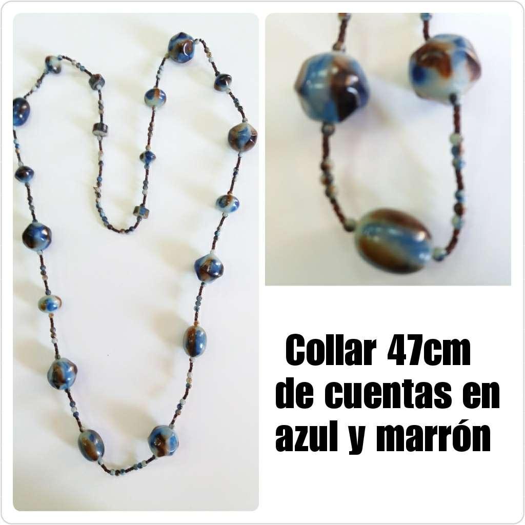 Imagen Collar de 47cm cuentas en azul y marrón
