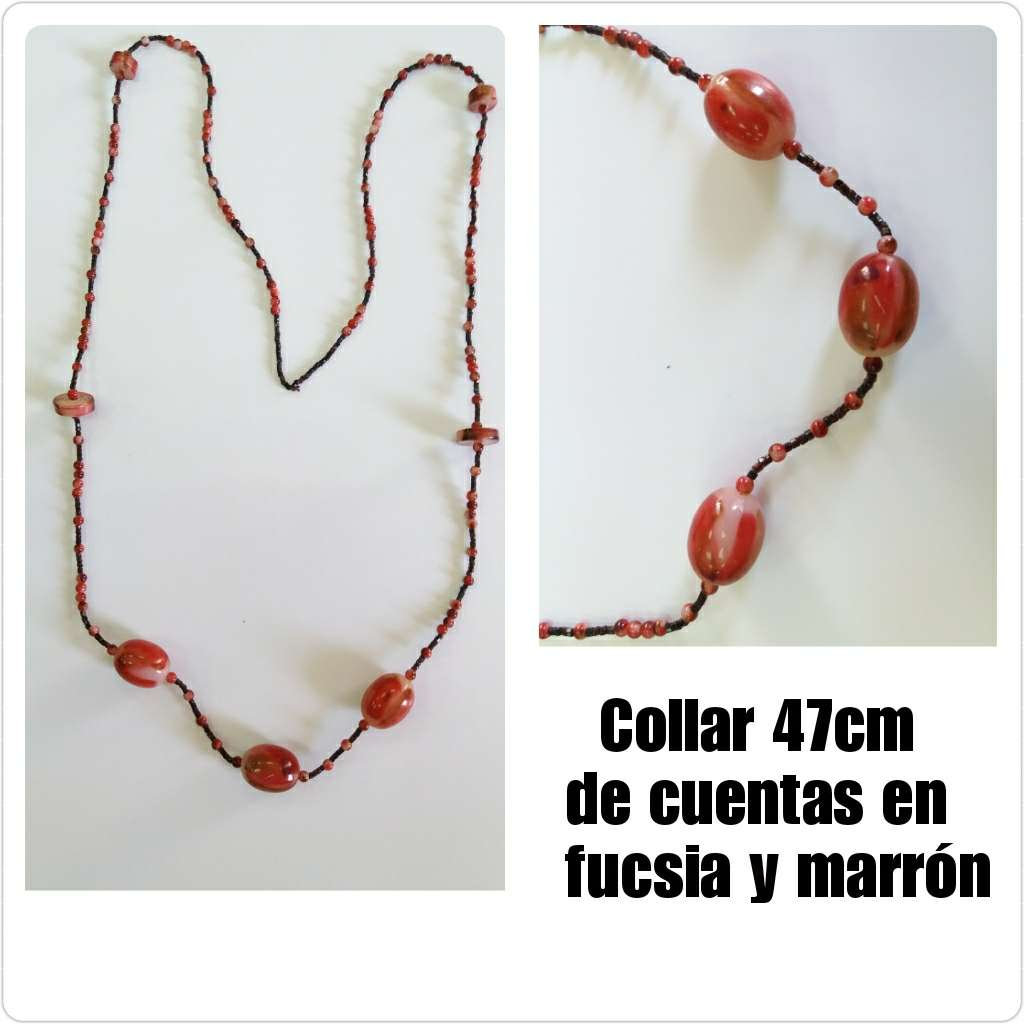 Imagen Collar de 47cm de cuentas en fucsia y marrón