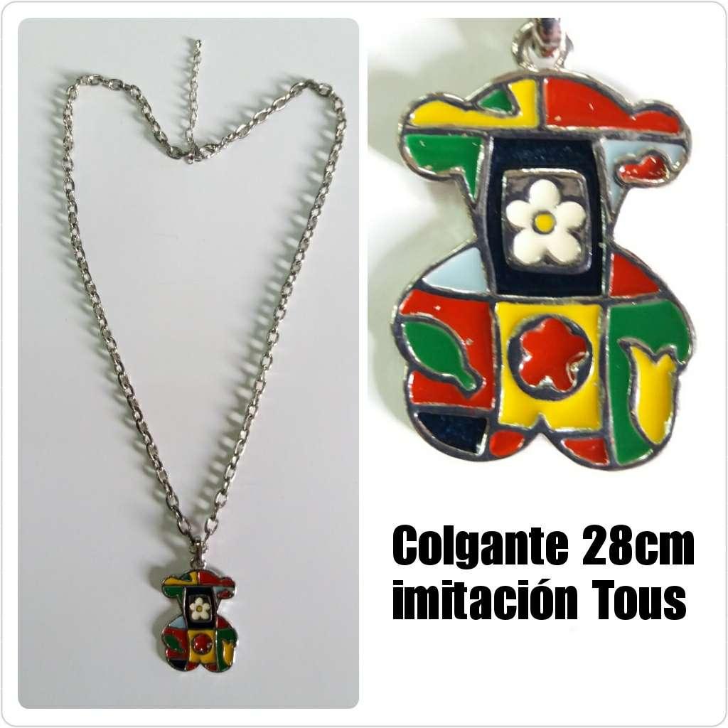Imagen Collar 28cm plateado con osito de colores