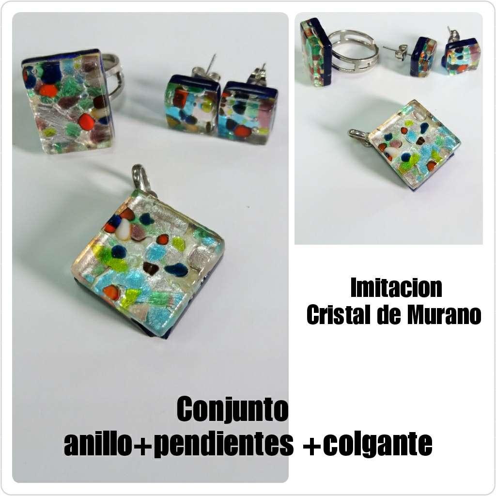 Imagen Anillo, pendientes y colgante cristal de Murano.