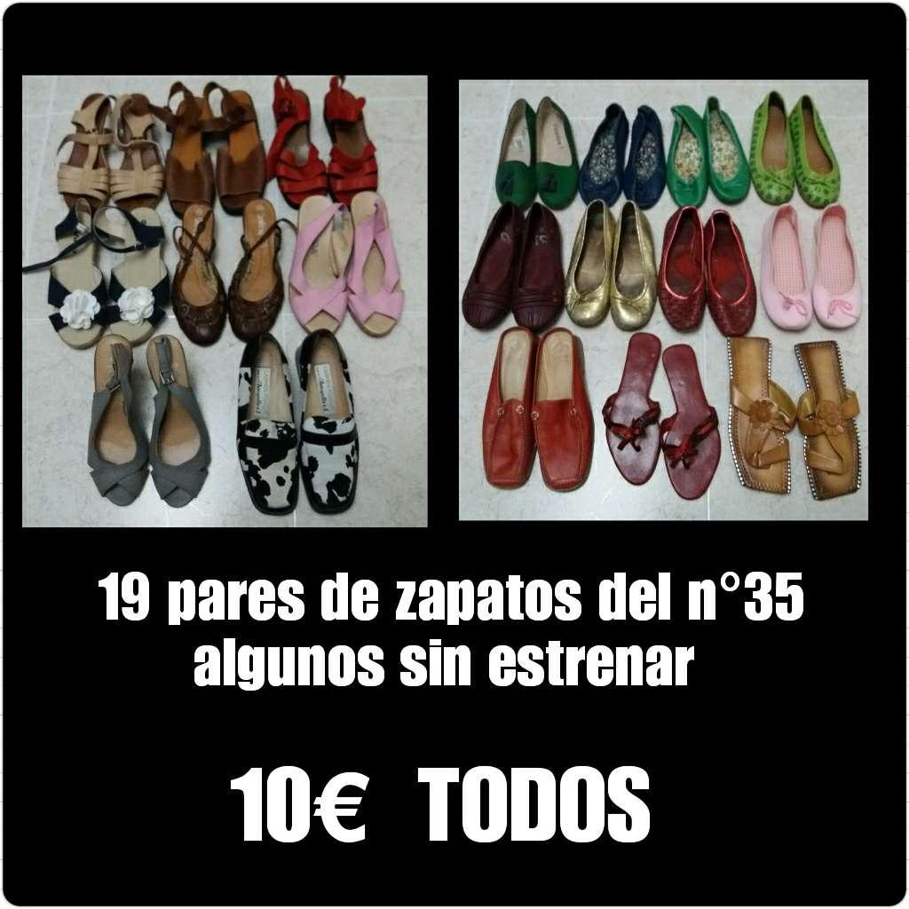 Imagen 19 pares de zapatos del n°35 algunos sin estrenar.