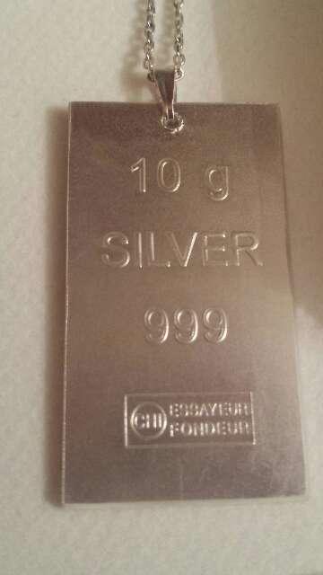 Imagen lingote colgante plata pura 999