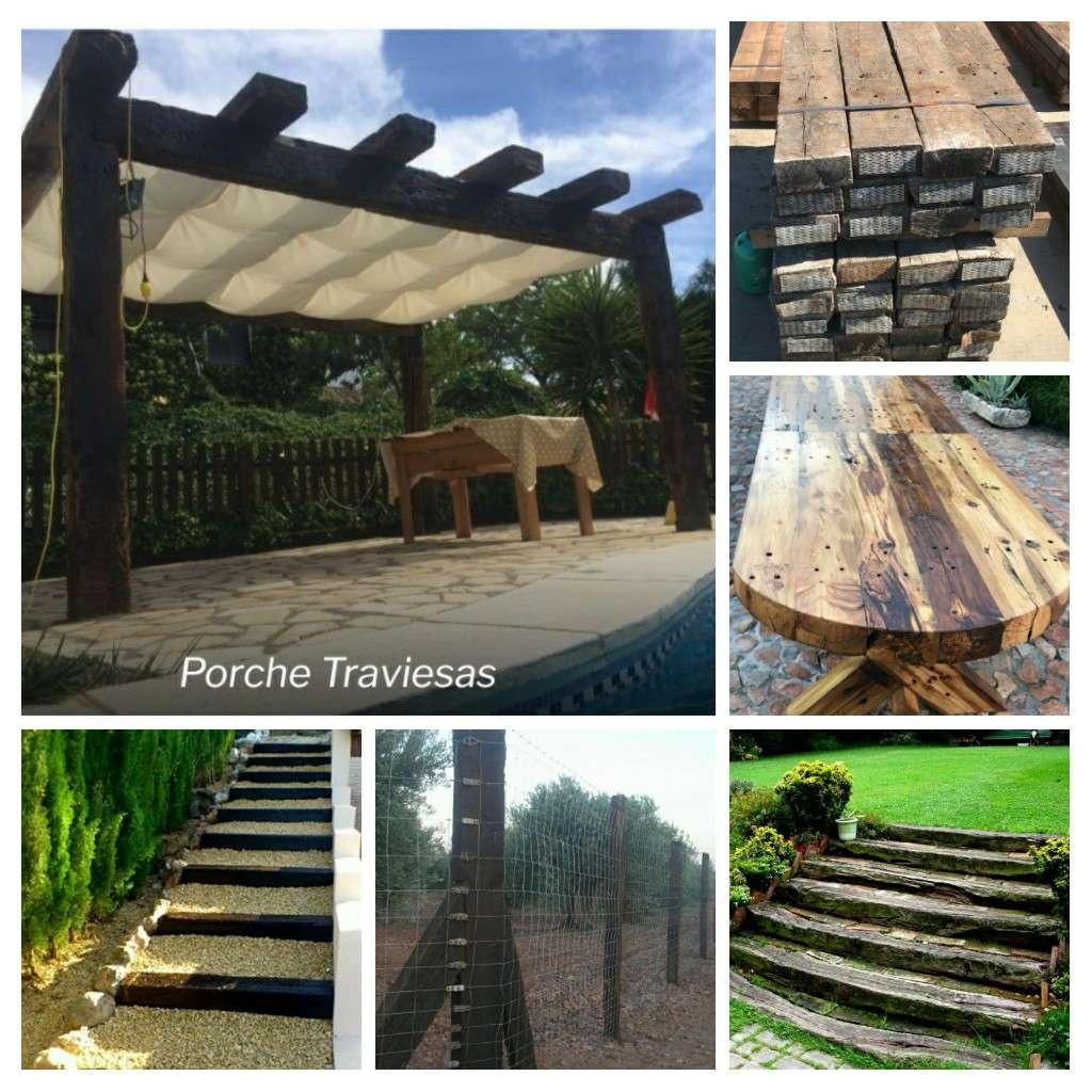 Imagen producto Traviesas de tren primera de roble, tradicionales limpias cepilladas y ecologicas para decoración de interior y exterior de jardín y vallado 6
