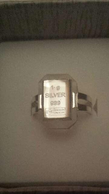 Imagen producto Anillo lingote de plata pura 999 2