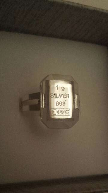 Imagen producto Anillo lingote de plata pura 999 6