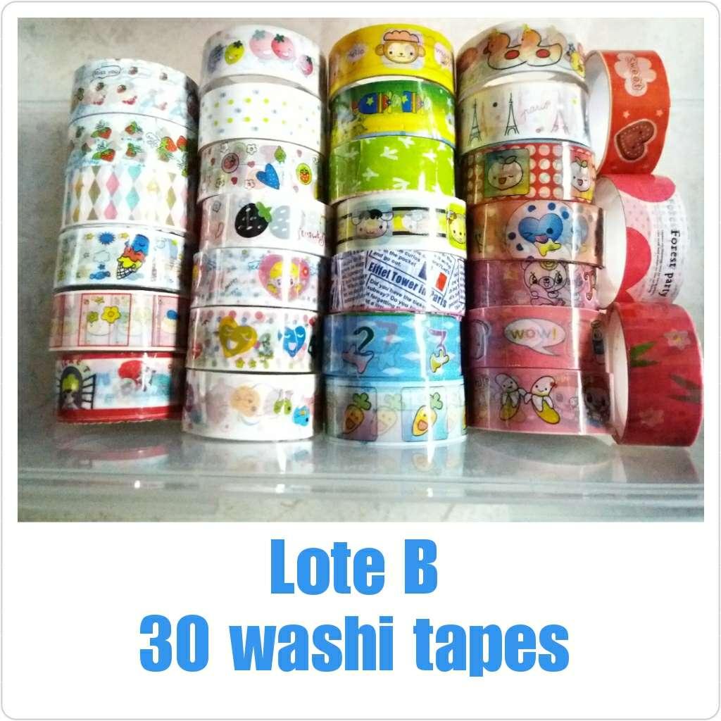 Imagen Lote B de 30 washi tapes nuevos.
