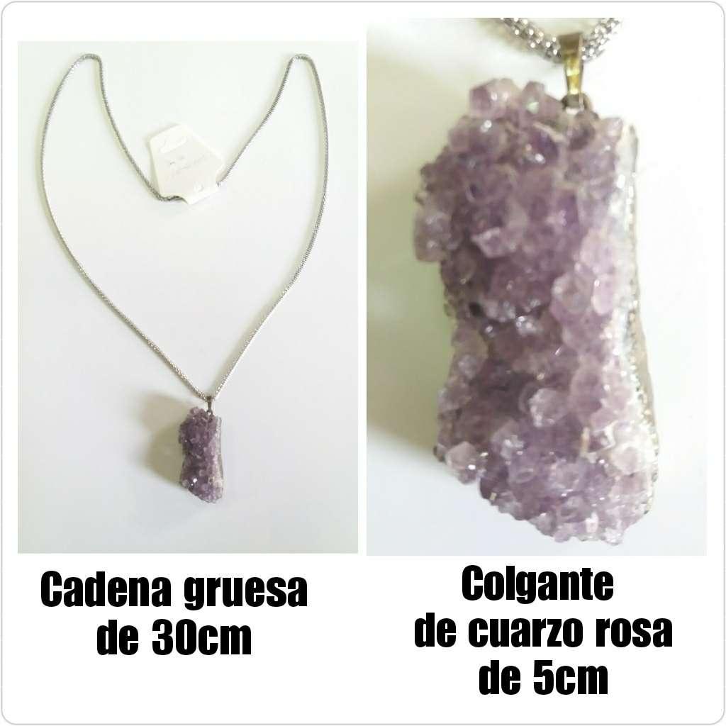 Imagen Collar plateado con piedra d 5cm d cuarzo rosa