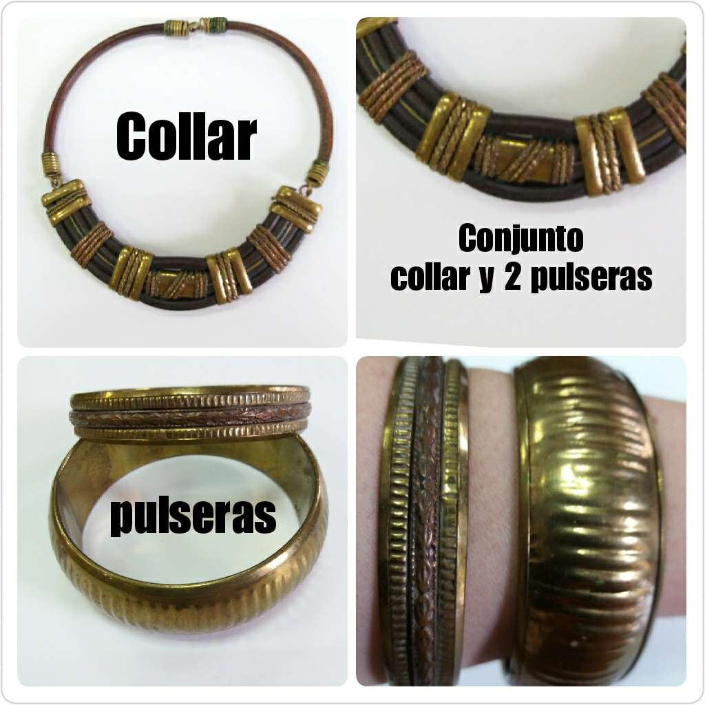 Imagen Conjunto collar y 2 pulseras oro viejo