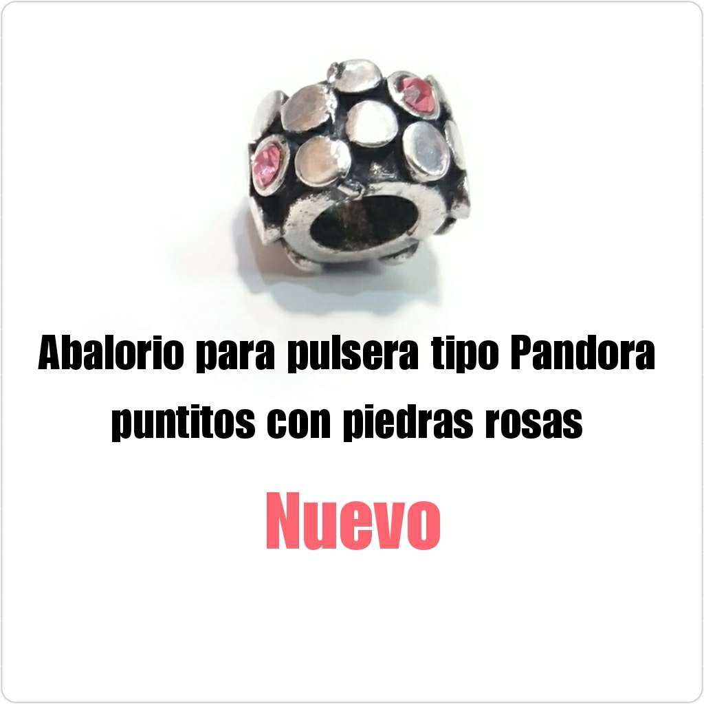 Imagen Abalorio tipo Pandora puntos con piedra rosa. Nuevo
