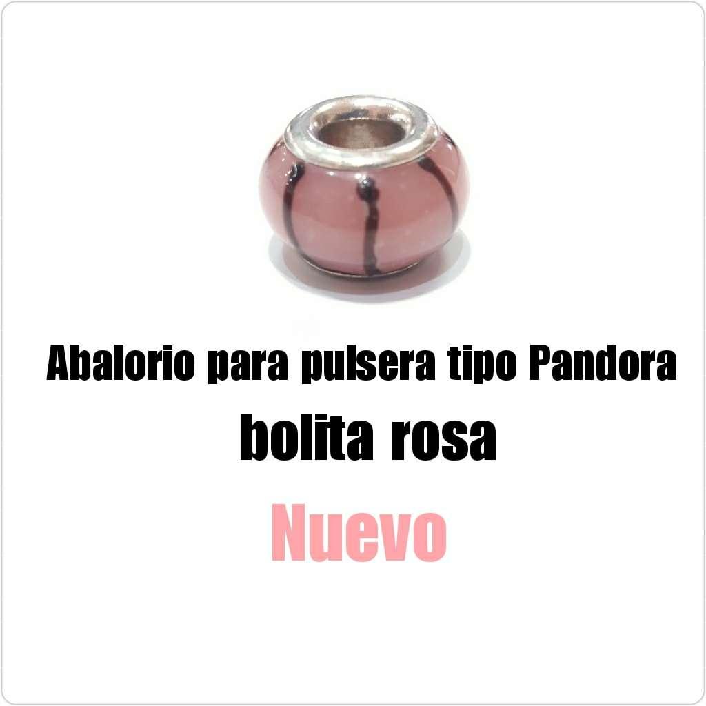 Imagen Abalorio tipo Pandora bolita rosa. Nuevo