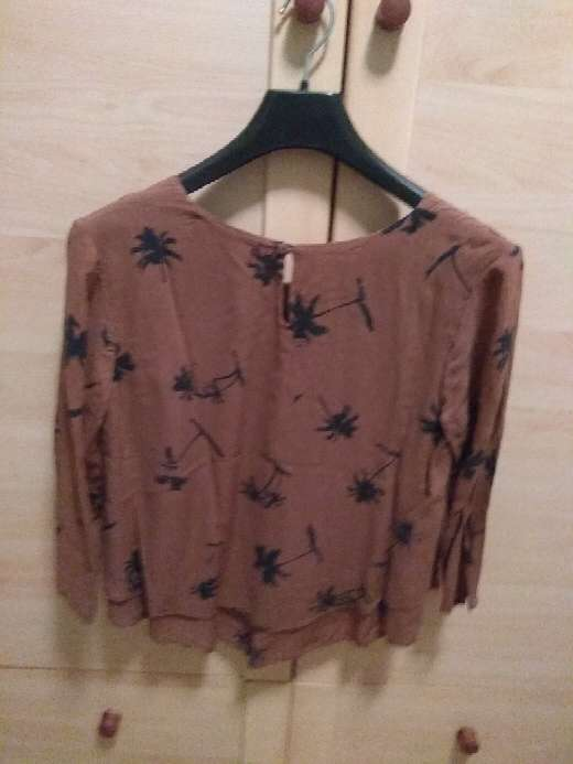 Imagen producto Blusa marrón con palmeras negras 2