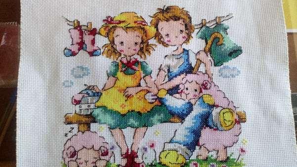Imagen Cuadro de niños con oveja