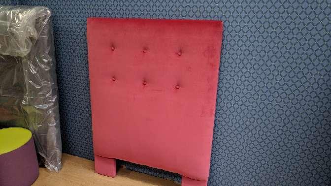 Imagen producto Cabecero de 90 NUEVO terciopelo rosa/rojizo 3
