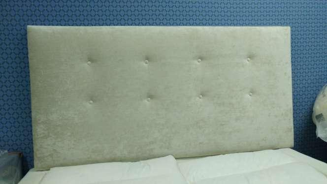 Imagen Cabecero de 1,60 NUEVO terciopelo algodón/viscosa beige