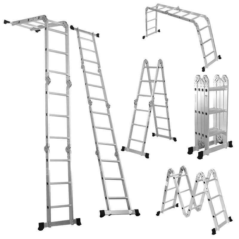 Imagen Escalera multiusos 3.83 metros con charolas MEC-12 Escalumex